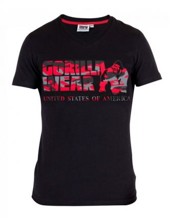 GORILLA WEAR Sacramento V-Neck T-Shirt Black/Red