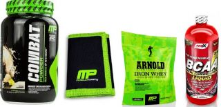 MusclePharm COMBAT 1816 g + MP p�nzt�rca + Amix Shaker Monster Bottle Color + MP Arnold Series Iron Whey 227g + Amix BCAA 500ml
