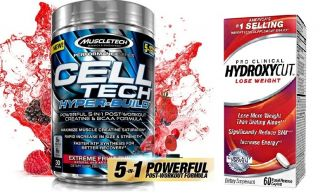 MuscleTech CELL-TECH HYPER BUILD 485g + HYDROXYCUT Pro Clinical 60cps.