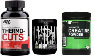 Optimum Nutrition Thermo Cuts 100 kaps + Creatine 144g + Animal Fury 83g
